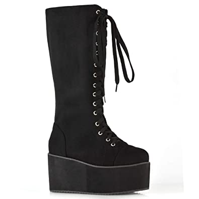 8de153a1f4f ESSEX GLAM Ladies Knee High Platform Wedge Womens Platform Lace Up Biker Boots  Size 3 4