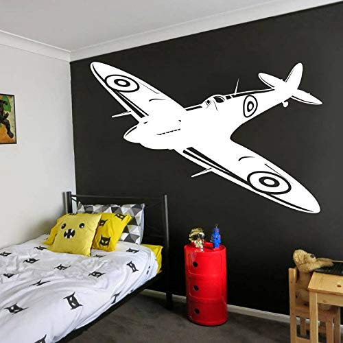 - Andre Shop Spitfire Wall Decals - British Fighter WW2 Decals - Jet Aircraft Plane Airplane Military Wall Sticker Vinyl - Boy Room Decor Custom Color