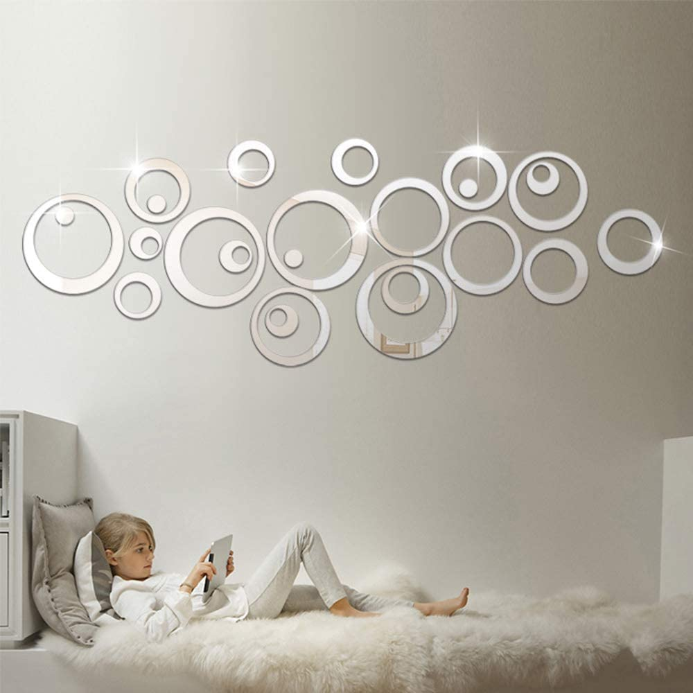 HOODDEAL Acrylic Mirror Style Removable Decal Vinyl Art Wall Sticker Home Decor (48 PCS, Silver)