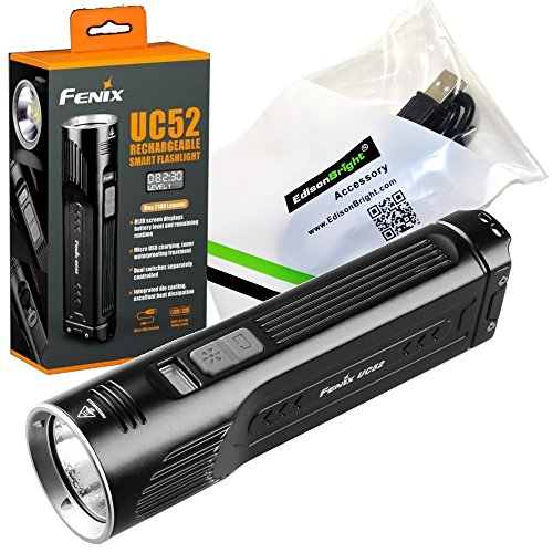 FENIX UC52 3100 Lumen diecast rechargeable digital display LED Flashlight with EdisonBright USB charging cable