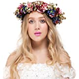 Valdler Vintage Nature Berries Flower Crown with Adjustable Ribbon for Wedding Festivals