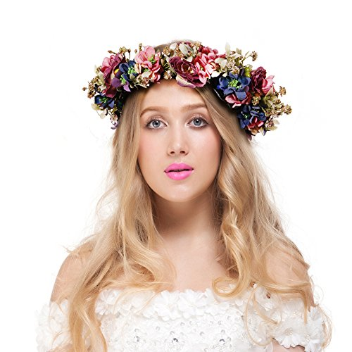 Valdler Vintage Nature Berries Flower Crown with Adjustable Ribbon for Wedding Festivals -