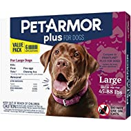 PETARMOR Plus for Dogs Flea and Tick Prevention for Large Dogs (45-88 pounds), Long-Lasting & Fast-Acting Topical Dog Flea Treatment, 6 Month Supply