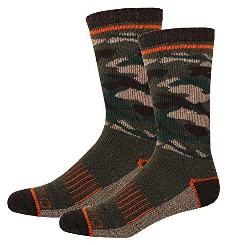 Camo Wool (Dickies Men's 1 Pack Steel Toe Wool Blend Camo Crew Socks, Olive, 2 Pair)