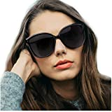 LVIOE Cat Eye Sunglasses for Women, Polarized Mirrored Lens with 100% UV Protection, Trendy Cateye Lightweight Frame Sun Glasses (Black Frame, Grey Lenses)