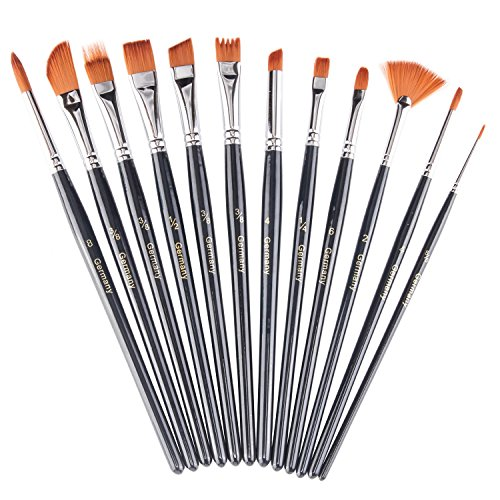 heartybay Paint Brush Set Round Pointed Tip Nylon Hair artist acrylic brush Watercolor Oil Painting (black 12pcs)