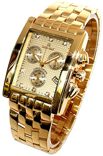 Oskar Emil Rodez Limited Edition 23ct Gold Plated 7 Diamond Gents Chronograph Watch with Gold Dial