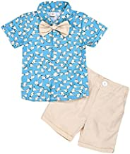 Baby Boys Summer Clothes Set Toddler Kids Gentleman Suit Cartoon Giraffe Shirt Blouse Shorts Pants Bow Tie Out