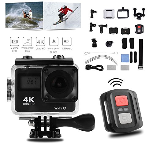 Acouto Wifi Action Camera 4K Ultru HD 2 Inch Touch Screen Camera 12MP 170 Degree Wide Angle View Sport Cam Underwarter Camcorder with Waterproof Housin Case,Remote Controller Accessories Kit by Acouto (Image #7)