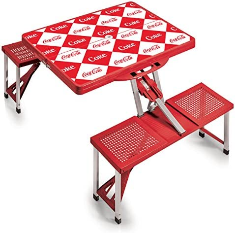 PICNIC TIME Coca-Cola Portable Picnic Table with Seating for 4, Checkered Print