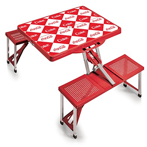 PICNIC TIME Coca-Cola Portable Picnic Table with Seating for 4, Checkered Print ()