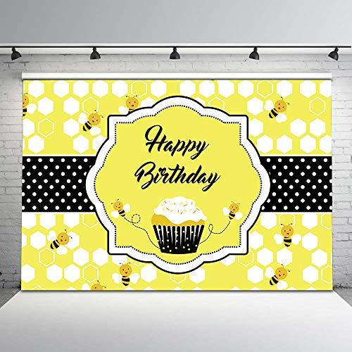 Bumble Bee Vinyl - Mehofoto Happy Bee Birthday Backdrop 1st Honey Bee Day Photo Background 7x5ft Sweet as can Bee Vinyl Backdrops Bumble Bee Birthday Decorations