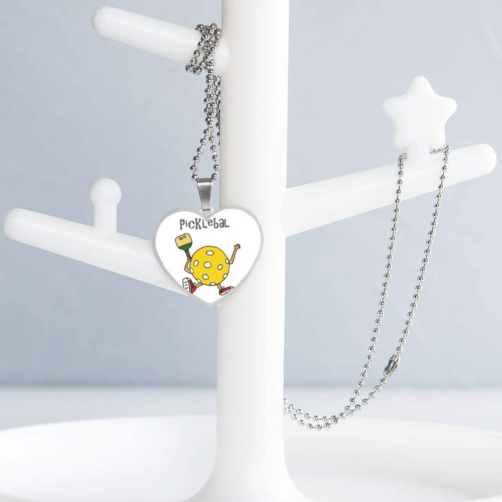 Walking Pickleball Necklace Personalized Engraved Heart Custom Gift Pendant-Valentines Day Love