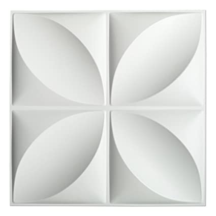 Art3d Decorative 3D Wall Panels Textured Covering White 12 Tiles 32 Sq