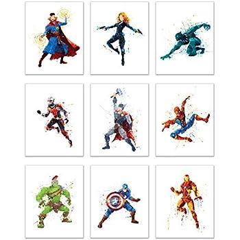 Superhero Avengers Infinity War Watercolor Poster Prints - Set of Nine 8x10 Wall Art Photos - Black Panther - Captain America - Iron Man - Thor - Spiderman - Ant Man - Black Widow - Doct