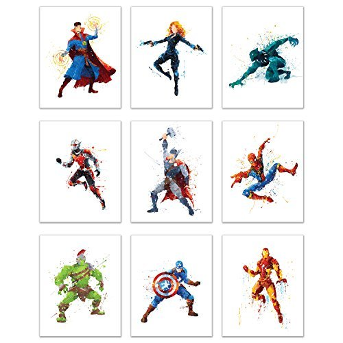 Superhero Avengers Infinity War Watercolor Poster Prints - Set of Nine 8x10 Wall Art Photos - Black Panther - Captain America - Iron Man - Thor - Spiderman - Ant Man - Black Widow - Doct -