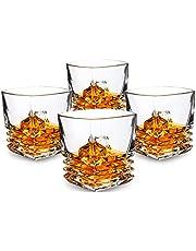 KANARS Bicchieri di Whisky Set di 4, 260ml Bicchiere di Whisky Robusto Cristallino al 100% Senza Piombo per Scotch, Bourbon e Altro, Vetro di Rocce Vecchio Stile