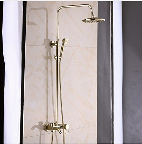Gowe Gold Finish Bath 8-inch Rain Shower Set Faucet Tub Mixer Tap with Hand Sprayer 0