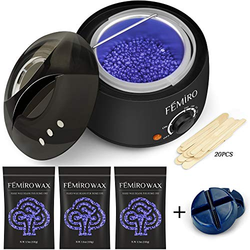 Waxing Kit, Femiro Wax Warmer Painless Hair Removal Wax Kit with 4 Bags Hard Wax (3.5oz/bag) 20 Wax Applicator Sticks for Full Body, Legs, Face, Eyebrows, Bikini Women Men At Home Waxing (Best Wax Strips For Bikini Line)