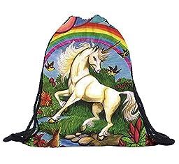 Unicorn And Rainbow Cartoon Digital Print Casual Daypacks Yoga Runner Daypack Gymsack Portable