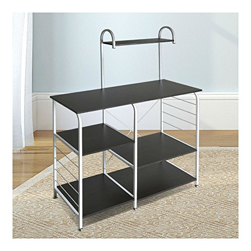 Kitchen Island Dining Cart Baker Cabinet Basket Storage Shelves Organizer Black from Unknown