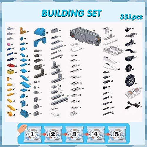 GOOMY Build a Robot Remote Control Blocks Kit Intelligent RC Toy APP STEM Bricks Electric Educational Engineering Best 8-12+ Boys and Girls Kids Gift 351 Pieces Set