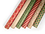 Kraft Wrapping Paper Set - 6 Rolls - Multiple Patterns - 30' x 120' per Roll