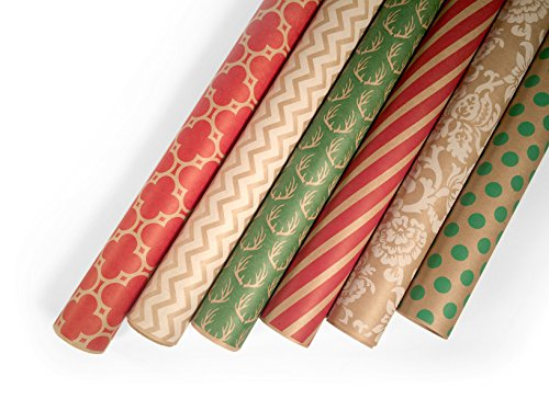 Kraft Wrapping Paper Set - 6 Rolls - Multiple Patterns - 30