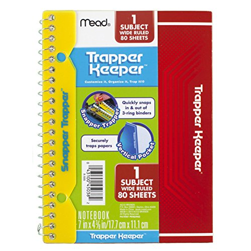 Mead Trapper Keeper Snapper Trapper Spiral Notebook, 1 Subject, Wide Ruled, 7 x 4.38 Inch, Purple (72726) Photo #3