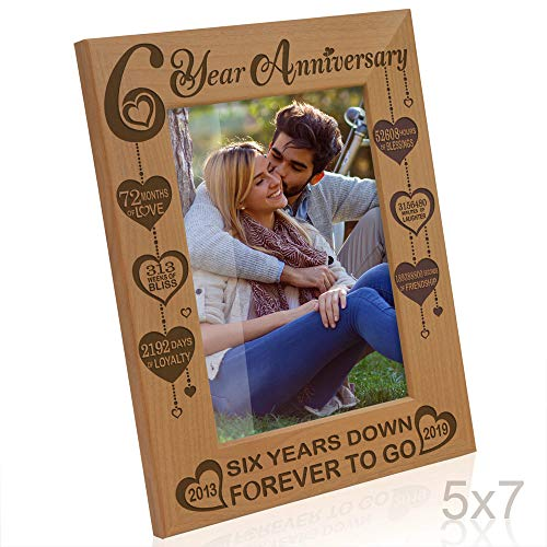 Kate Posh Six Year Anniversary, 6th Wedding Anniversary Engraved Natural Wood Picture Frame, 6 Years Together, 6 Years as Husband and Wife, as Boyfriend and Girlfriend, Couple Gifts (5x7 Vertical)