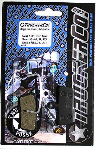 - Truckerco Organic Semi-Metallic disc brake pads Sram Avid Elixir TRAIL, X0 Trail, Elixir 7 Trail, Elixir 9 Trail, Guide, Guide R, Guide RS, Guide RSC, XOTR-M, XOTR-O, XOTR-O-AL