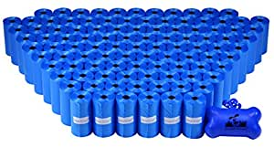 2200 Pet Waste Bags, Dog Waste Bags, Bulk Poop Bags on a roll, Clean up poop bag refills - (Color: BLUE) + FREE Bone Dispenser, by Downtown Pet Supply