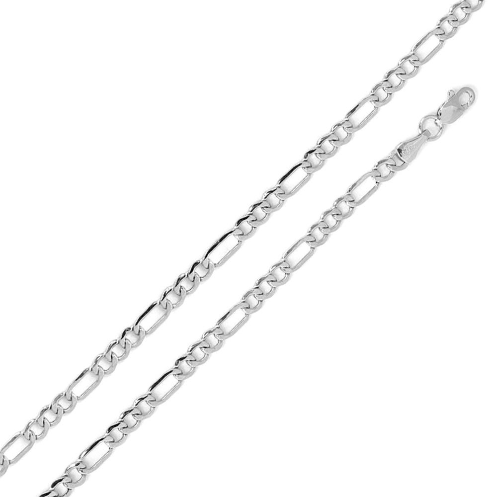 CloseoutWarehouse High Polished Sterling Silver Super Flat Figaro 120 Chain 4.6mm