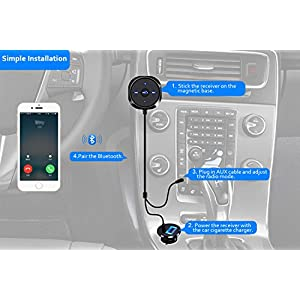 Comsoon Bluetooth Car Kit, Bluetooth Car Adapter Wireless Stereo Handsfree Speakerphone with 5V/2.1A USB Car Charger, 3.5mm Aux Jack & Magnetic Mounts(AUX Port Needed)