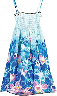 UPREDO Little Big Girls Casual Summer Beach Halter Striped Floral Dresses,Size 4-12