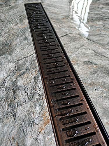 Neodrain 24-Inch Linear Shower Drain with Removable Capsule Pattern Grate, Antique Copper color, Oil Rubbed Bronze finish, 304 Stainless Steel Shower Floor Drain, With Leveling Feet, Hair Strainer (Pans Copper Antique)
