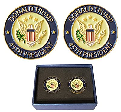 Pack of 2 Pins - Donald Trump 45th President Lapel Pin Hat Tac - Trump Pin, Gift Box