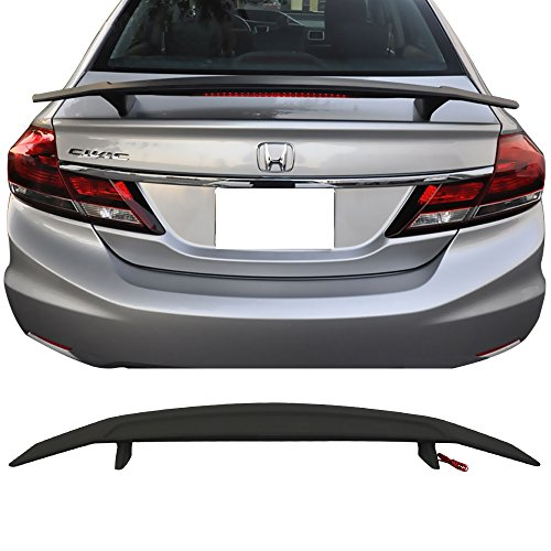 Trunk Spoiler Wing & 3rd Brake LED Light Fits Universal Car | Ikon Style Matte Black ABS Car Exterior Trunk Rear Wing Tail Roof Top Lid by IKON MOTORSPORTS |1988 -