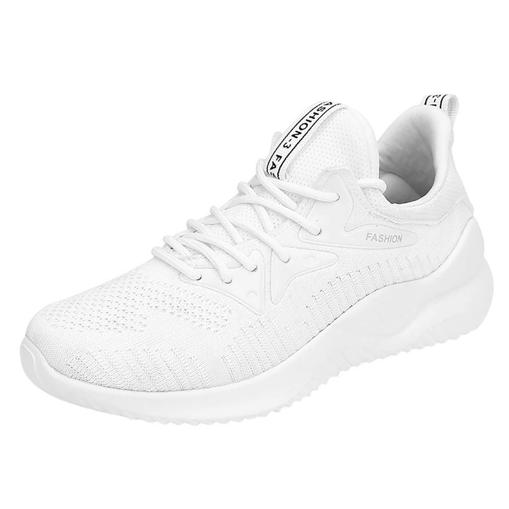 HENWERD Women's Fashion Outdoor Casual Lace-Up Sports Shoes Mesh Breathable Run Sneakers (White,6 US)