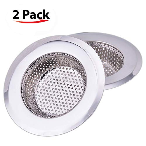 - NHSUNRAY 2pcs Stainless Steel Kitchen Sink Strainer Heavy-Duty Drain Filter Fit for Drain Filter for Kitchen Bathroom Basin Laundry Stop Hair Disposal Waste
