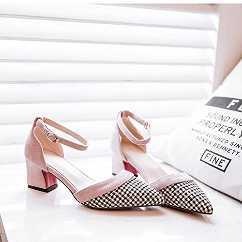 Carolbar Women's Fashion Sexy Plaid Mid Heel Buckle Pointed Toe Court Shoes Pink mGsOqcQHtY