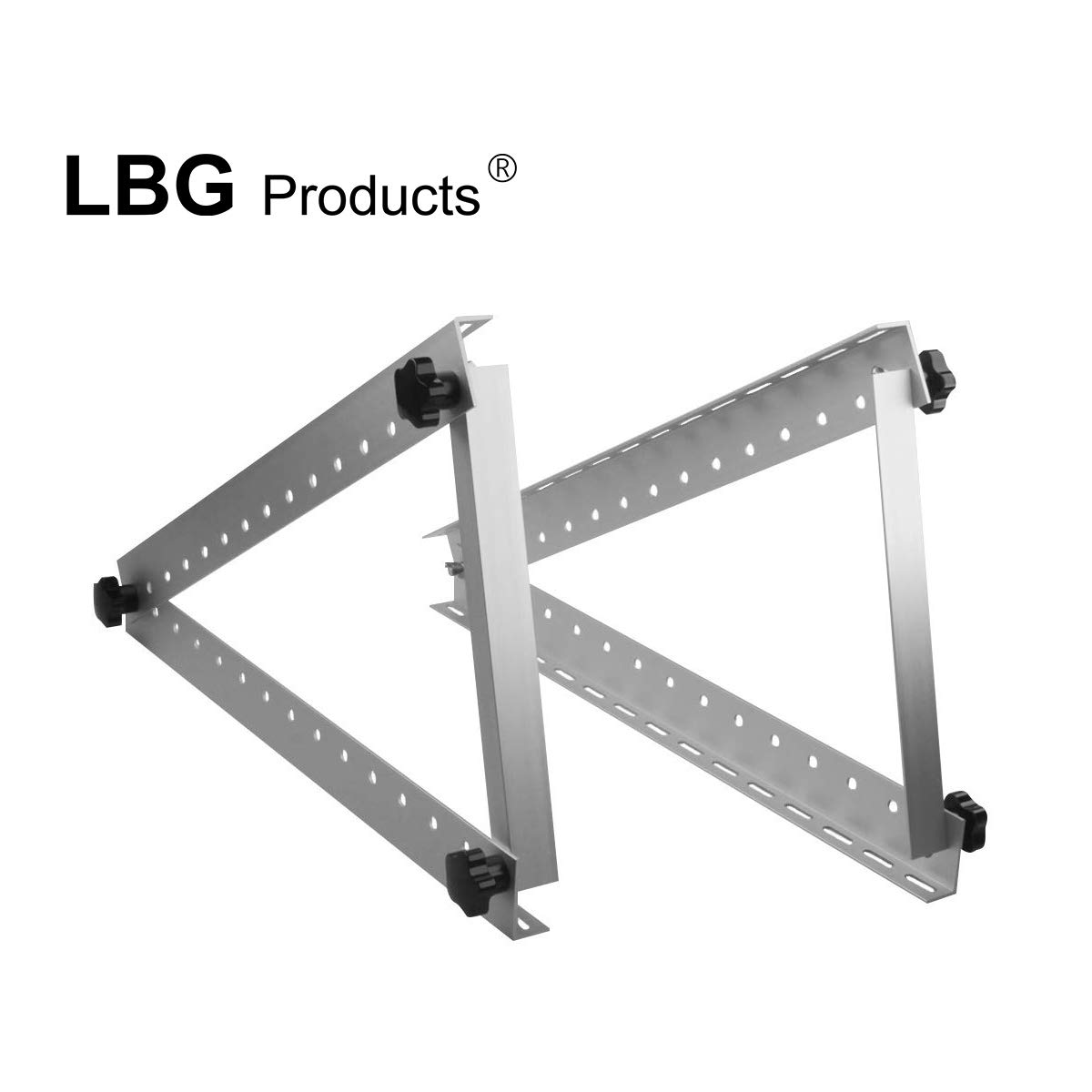 LBG Products Adjustable Solar Panel Mount Brackets with Foldable Tilt Legs Support up to 100 Watt Solar Panel for Roof, RV,Boat and Any Flat Surface Off Grid