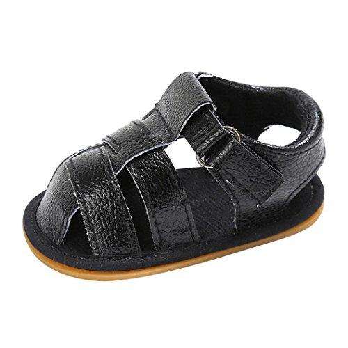Clode® Baby Kleinkind Jungen Niedliche Krippe Schuhe Anti-Rutsch Prewalker Soft Sohle Schuhe Sandalen Schwarz