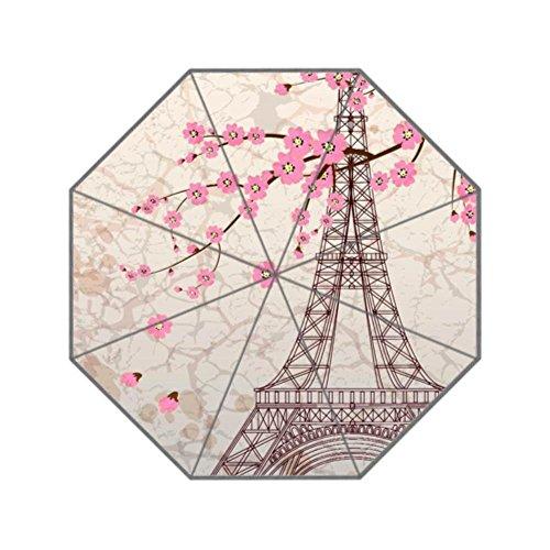 Reong Paris Eiffel Tower Folding Umbrella For Girls Women Sunscreen Uv 3- section aluminium - Tower Aluminium