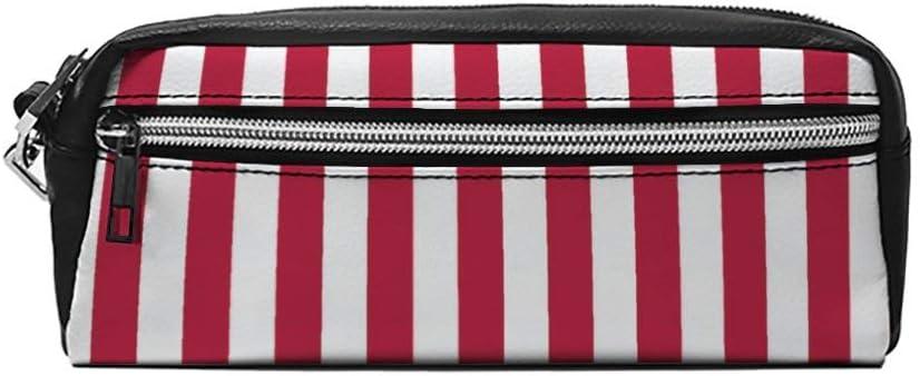 Estuche pequeño de Piel para lápices, diseño de líneas Rojas y Blancas: Amazon.es: Equipaje