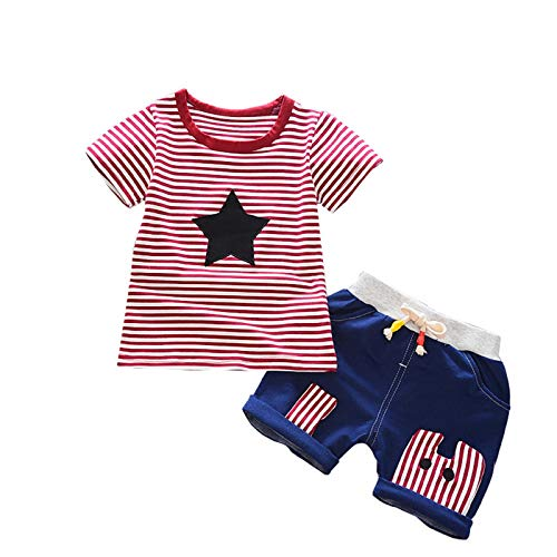 (Kids Baby Boys Stripe Tees with Bandage Jeans Cute Toddler Boy Cotton Short Sleeve Star T-Shirt Top Set July 4th)