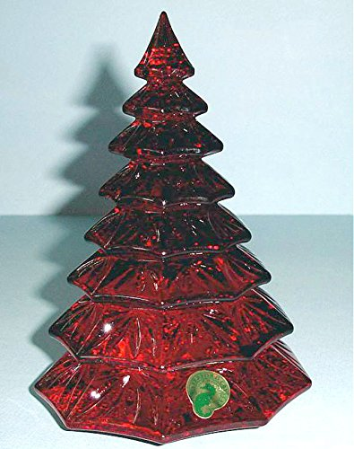 Waterford Crystal Red Christmas Tree Sculpture Figurine 6.5