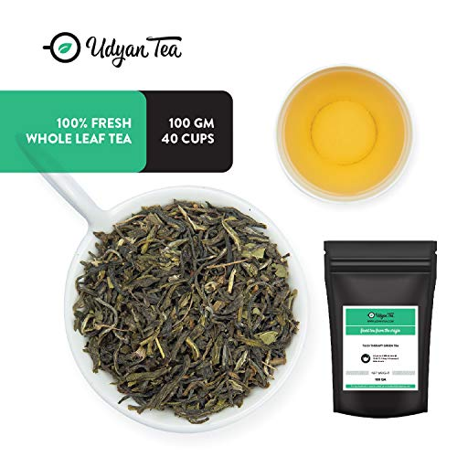 (Udyan Tulsi Therapy Green Tea, 3.5 oz (40 cups) | Pure Green tea with Tulsi Leaves (Holy Basil Leaves) | Handpicked Natural Ingredients | Loose Leaf Tea in Resealable Vacuum Pouch)