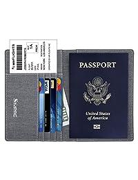 SimpacX Fabric Passport Holder Wallet Cover Case RFID Blocking Travel Wallet (gray)