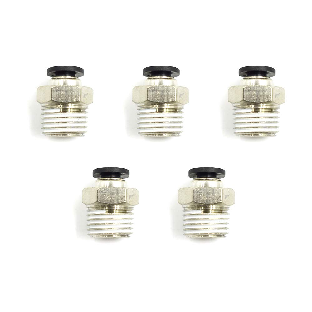 5//32 Tube OD x 1//4 NPT Thread HONJIE 5//32 Push to Connect Tube Fitting Pack of 5